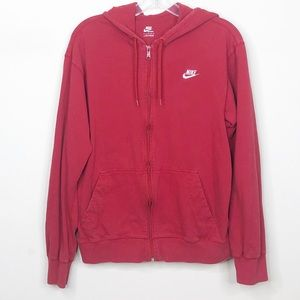Nike Full Zip Hoodie Sweatshirt Red Womens Medium